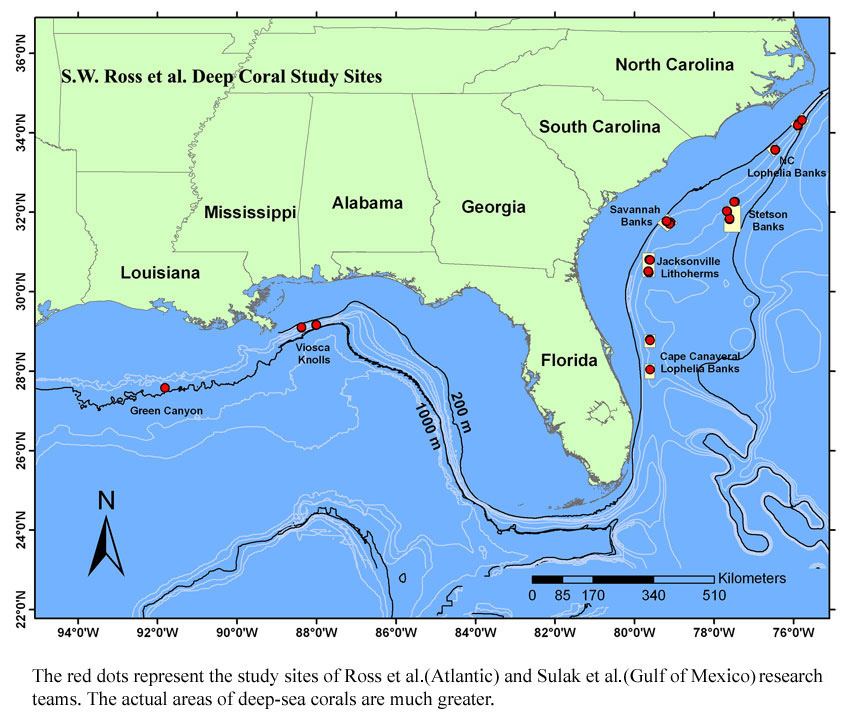 South Eastern USA corals ross et al study sites